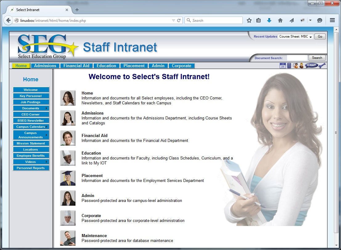 Intranet Screenshot